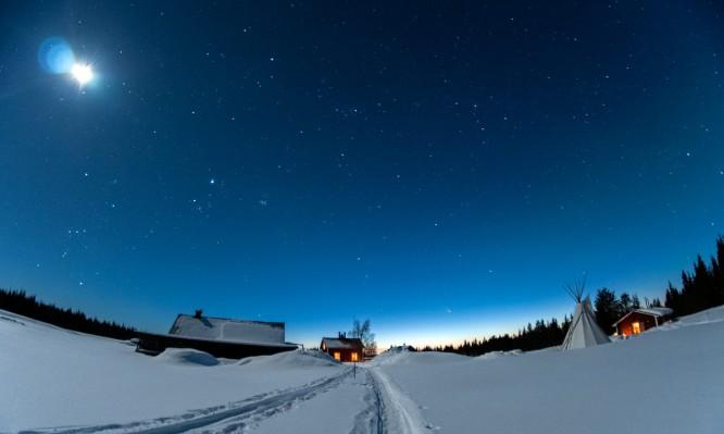 Klarer Sternenhimmel über Solberget