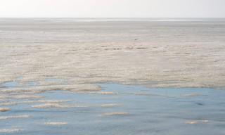 Nasses Eis in der Bucht –Nebel am Horizont