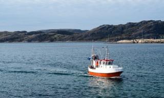 Ein Fischerboot kommt
