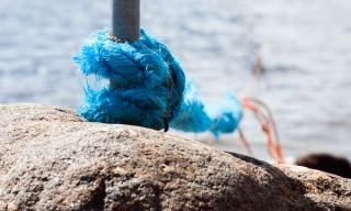 Der Ankerstich hält ein Fischernetz