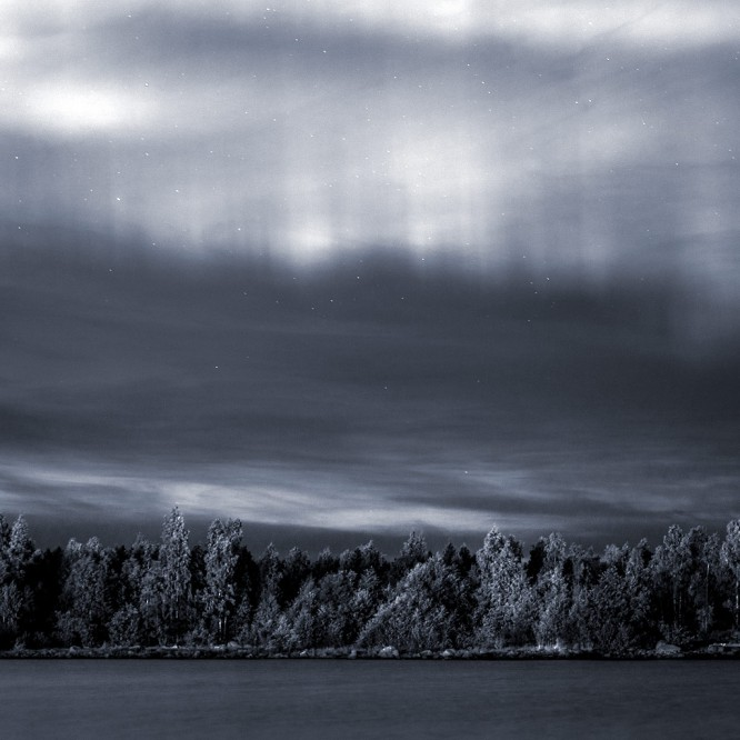 Polarlicht –heute mal schwarzweiß.