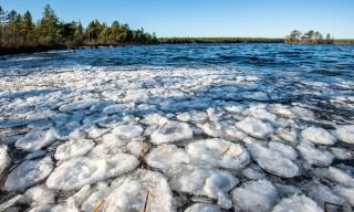Eisfladen auf dem Snesviken