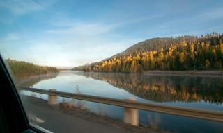 Hinweg: Brücke über den Skellefteälven