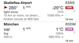 Gestern vormittag: Skellefteå 30 °C kälter als München