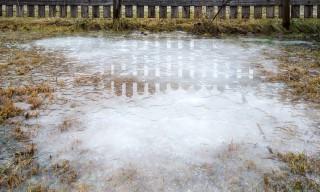 Eisflächen im Garten