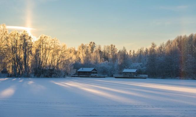 Zwei Flosse vor Skellefteås Flussinseln Ytterholmen und Karl Fredriksholmen