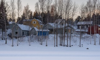 Häuser auf der Halbinsel Kallholmen