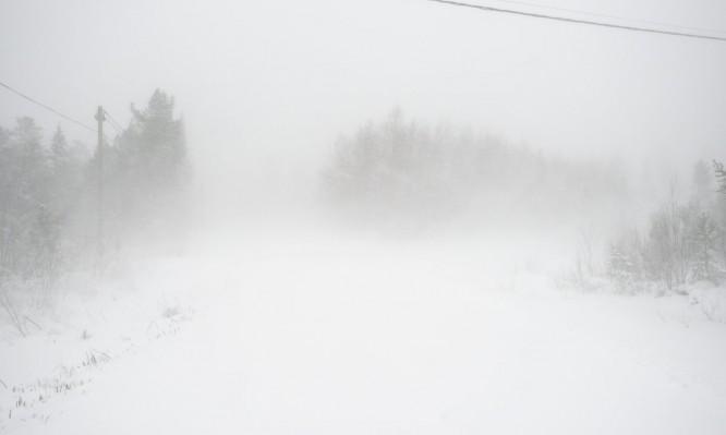 Im Schneesturm zum Strand