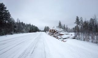 Eine typisch nordschwedische Straße im Winter