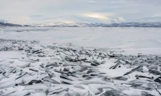 Eisschollenlandschaft auf dem Torneträsk