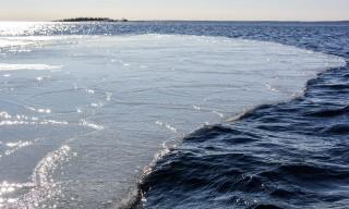 Eine Eisscholle löst sich und treibt seewärts