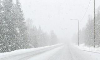 Nasser Schneefall auf dem Rückweg