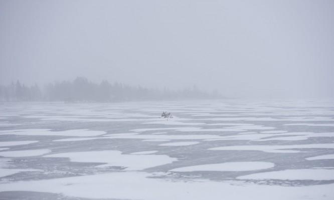 Schneefall an der Küste