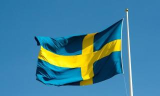 Die schwedische Flagge ist gehisst