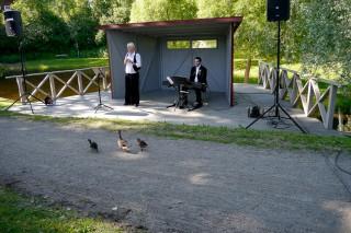 Freilichtbühne mit Entenfamilie